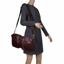 Gucci Burgundy Leather Fanny Pack Double Waist Belt Bag 129735