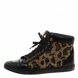 Philipp Plein Black Leather Crystal Studded High Top Sneakers Size 38 132062