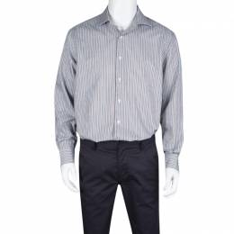 Brioni Multicolor Striped Cotton Long Sleeve Button Front Shirt XXL