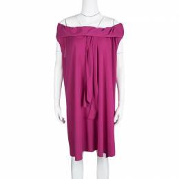 Yves Saint Laurent Pink Knit Off Shoulder Sleeveless Shift Dress S 128713