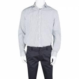 Ralph Lauren Monochrome Striped Cotton Button Front Tailored Fit Shirt XXL 131066