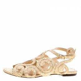 Charlotte Olympia Beige Python Embossed Leather Elisa Sandals Size 36