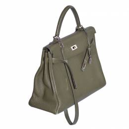 Hermes Vert Veronese Togo Leather Palladium Hardware Kelly Retourne 35 Bag 129561