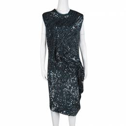 Lanvin Teal Blue Sequined Draped Sleeveless Dress S 126768