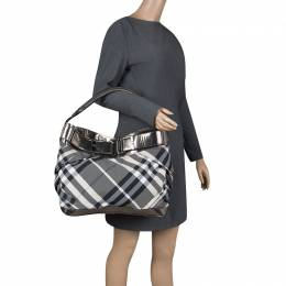 Burberry Metallic Grey Beat Check Nylon and Leather Shoulder Bag