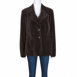 Escada Brown Velvet Top Stitch Detail Blazer M