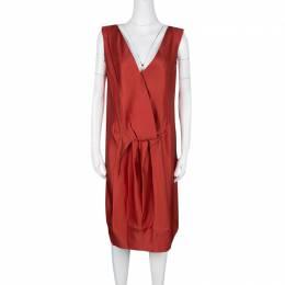 Lanvin Red Silk Draped Back Detail Sleeveless Dress M 126780