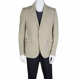 Gucci Beige Cotton Regular Fit Two Button Blazer L 127762