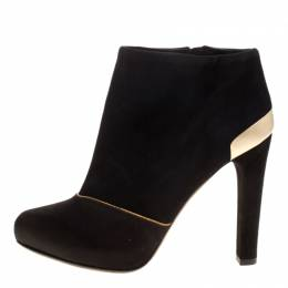 Fendi Black Suede and Satin Ankle Boots Size 37.5 129163