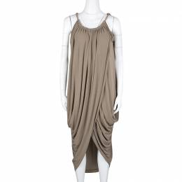 Lanvin Brown Gathered Draped Sleeveless Dress M 126755