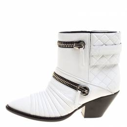 Giuseppe Zanotti Design White Quilted Leather Ankle Boots Size 38 127150