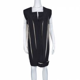 Lanvin Black and Cream Box Pleated Bow Detail Sleeveless Dress M 127084