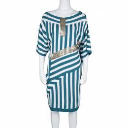 Chloe Aqua Blue and White Striped Knit Metal Sequin Embellished Dress
