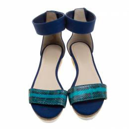 Jimmy Choo Blue Watersnake Neat Ankle Strap Cork Wedge Platform Sandals Size 40 131282