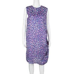 Lanvin Multicolor Animal Printed Silk Frayed Hem Pleat Detail Sleeveless Dress M 126782