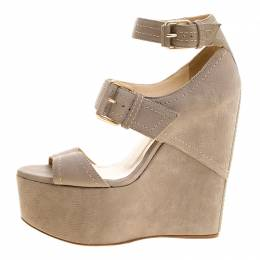 Jimmy Choo Grey Nubuck Leora Platform Wedge Ankle Strap Sandals Size 36.5 129920