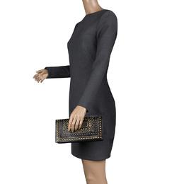 Jimmy Choo Black Leather Studded Clutch 130563