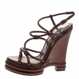 Dolce&Gabbana Metallic Brown Leather Strappy Wedge Sandals Size 40 129878