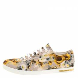 Dolce&Gabbana Beige Floral Printed Canvas Low Top Sneakers Size 37.5 126554