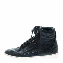 Dior Blue Cannage Leather High Top Sneakers Size 38 130055