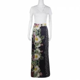 Roberto Cavalli Class Floral and Polka Dot Print Maxi Skirt XS