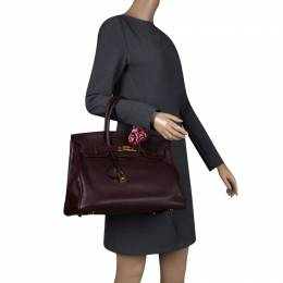 Hermes Bordeaux Togo Leather Gold Hardware Birkin 35 Bag 129686
