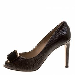 Salvatore Ferragamo Dark Brown Lizard Embossed Leather Peep Toe Pumps Size 41 132117