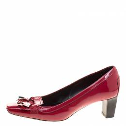 Tod's Cherry Red Patent Leather Kiltie Fringe Pumps Size 37.5 Tod's 126954