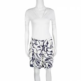 Miu Miu White and Navy Floral Print Pocket Detail Mini Skirt M 127133