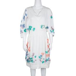 Fendi White Linen Cutout Detail V-Neck Dress S 131826