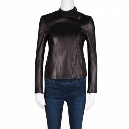 The Row Black Brilly Leather Zip Front Moto Jacket XS 131484