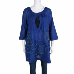 Diane Von Furstenberg Blue Seersucker Beaded Applique Detail Tunic M 132621