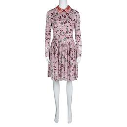 Valentino Pink Floral Print Contrast Applique Collar Pintuck Detail Dress S 130667