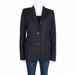 Joseph Black Striped Wool Tailored Blazer L 132635