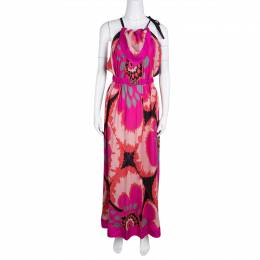 M Missoni Multicolor Printed Tie Detail Belted Maxi Dress M 132631