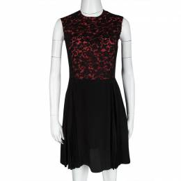 Miu Miu Black and Orange Floral Lace Pleat Detail Dress S 120122
