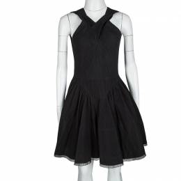 Alaia Black Eyelet Embroidered Cotton Cross Back Sleeveless Dress L