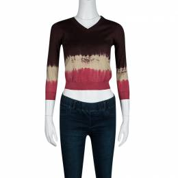 Prada Multicolor Gradient Crop Sweater M
