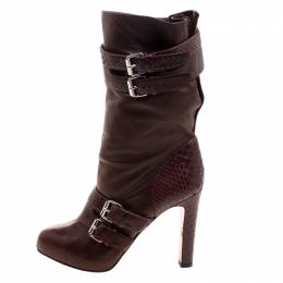 Christian Louboutin Dark Burgundy Python and Leather Loubi Bike Boots Size 39 119854