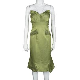 Zac Posen SS'13 Linden Green Strapless Dress S 118499