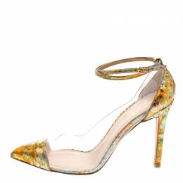 Christian Louboutin Multicolor Metallic Python and PVC Pigalle Un Bout Ankle Strap Pumps Size 37.5 116439