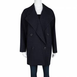Joseph Navy Blue Summer Tweed Double Breasted Maubert Coat M