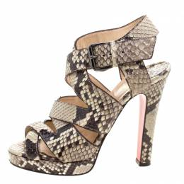 Christian Louboutin Two Tone Python Leather Criss Cross Strap Platform Sandals Size 37 116747