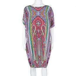 Etro Multicolor Printed Silk Slit Sleeve Detail Shift Dress L 114995