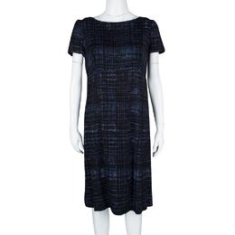Prada Blue and Black Printed Short Sleeve Sheath Dress M 115000