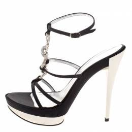 Casadei Black Satin Crystal Embellished Platform Strappy Sandals Size 40 115262