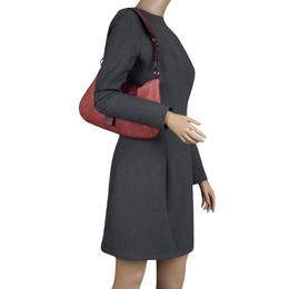 Dior Burgundy Python and Leather Shoulder Bag 121113