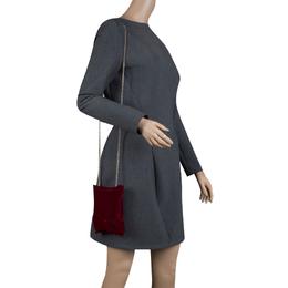 Anya Hindmarch Burgundy Velvet Crisp Packet flocked Evening Bag 123265