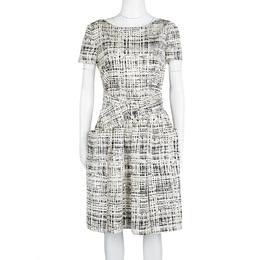 Prada Monochrome Printed Silk Short Sleeve Pocket Detail Belted Dress M 114436
