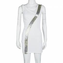 Emilio Pucci White Sequin Embellished Ruched Sleeveless Dress S 118574